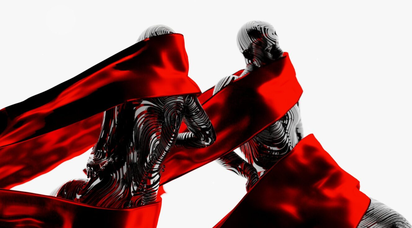 Digital image of black figures wrapped in red banners against a white ground