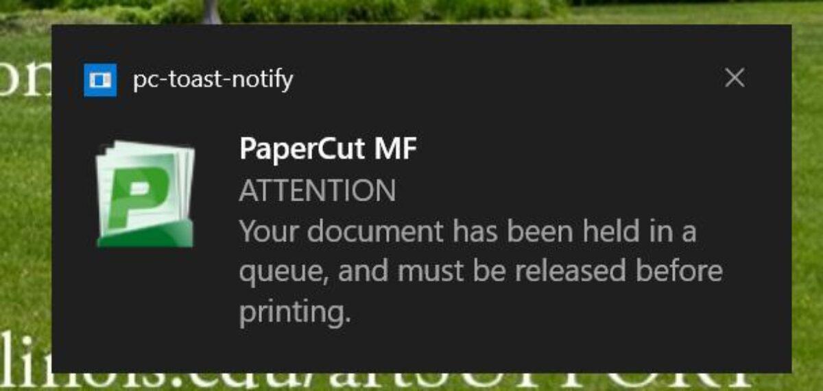 Papercut Notification
