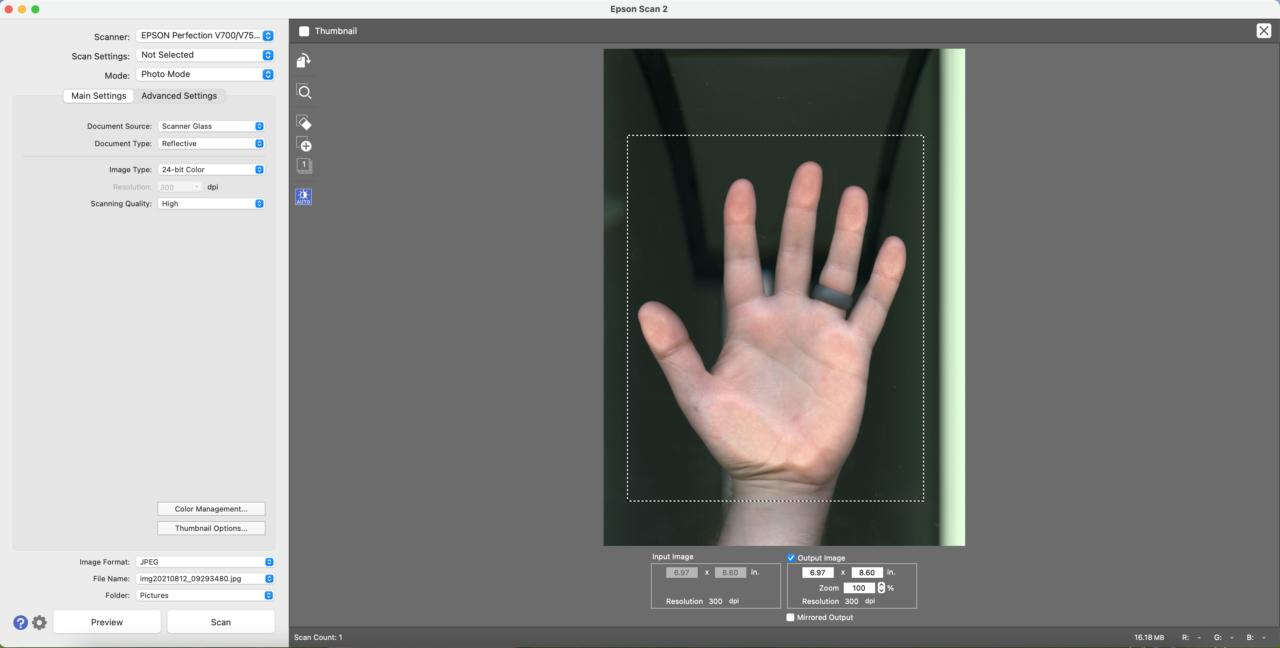 scanning software interface with preview image of a hand on the scanner