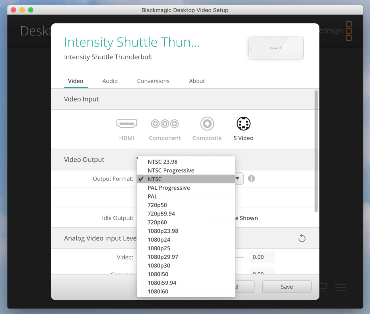 BlackMagic Desktop Video Settings