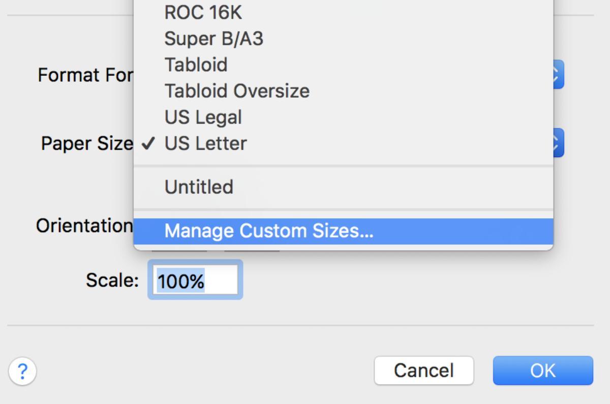 Fig 9 - Manage Custom Sizes