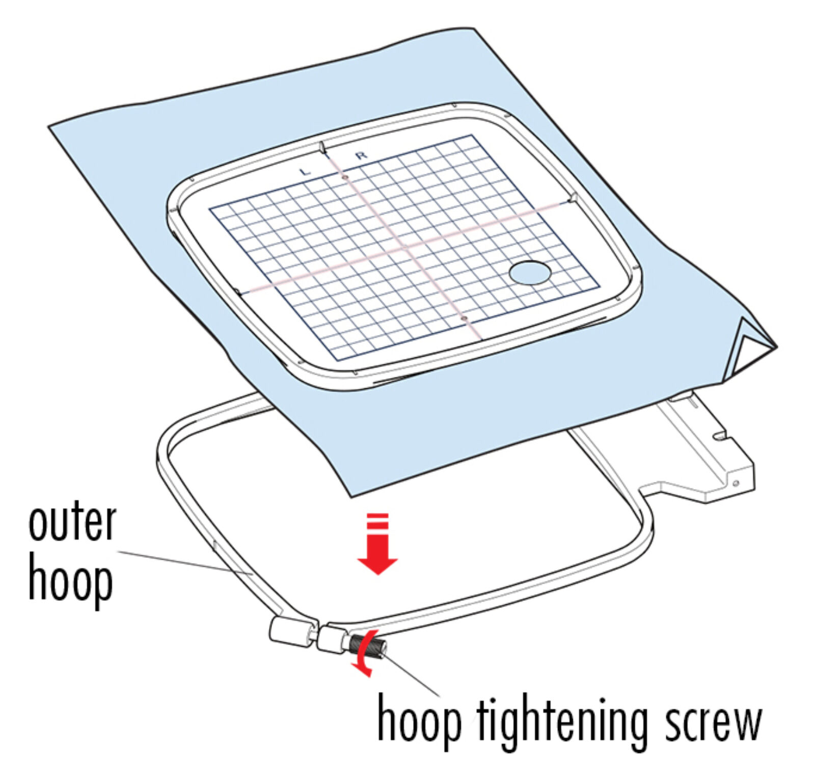 Place Fabric in Outer Hoop