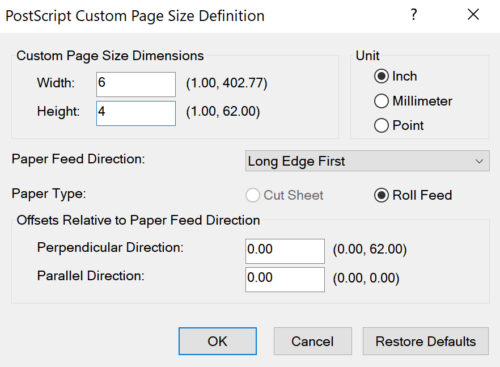 Custom Page Sizes