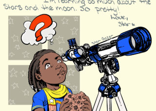 young child with telescope and cookie