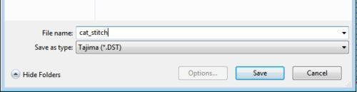 Choosing Tajima (*.DST) file type in dropdown