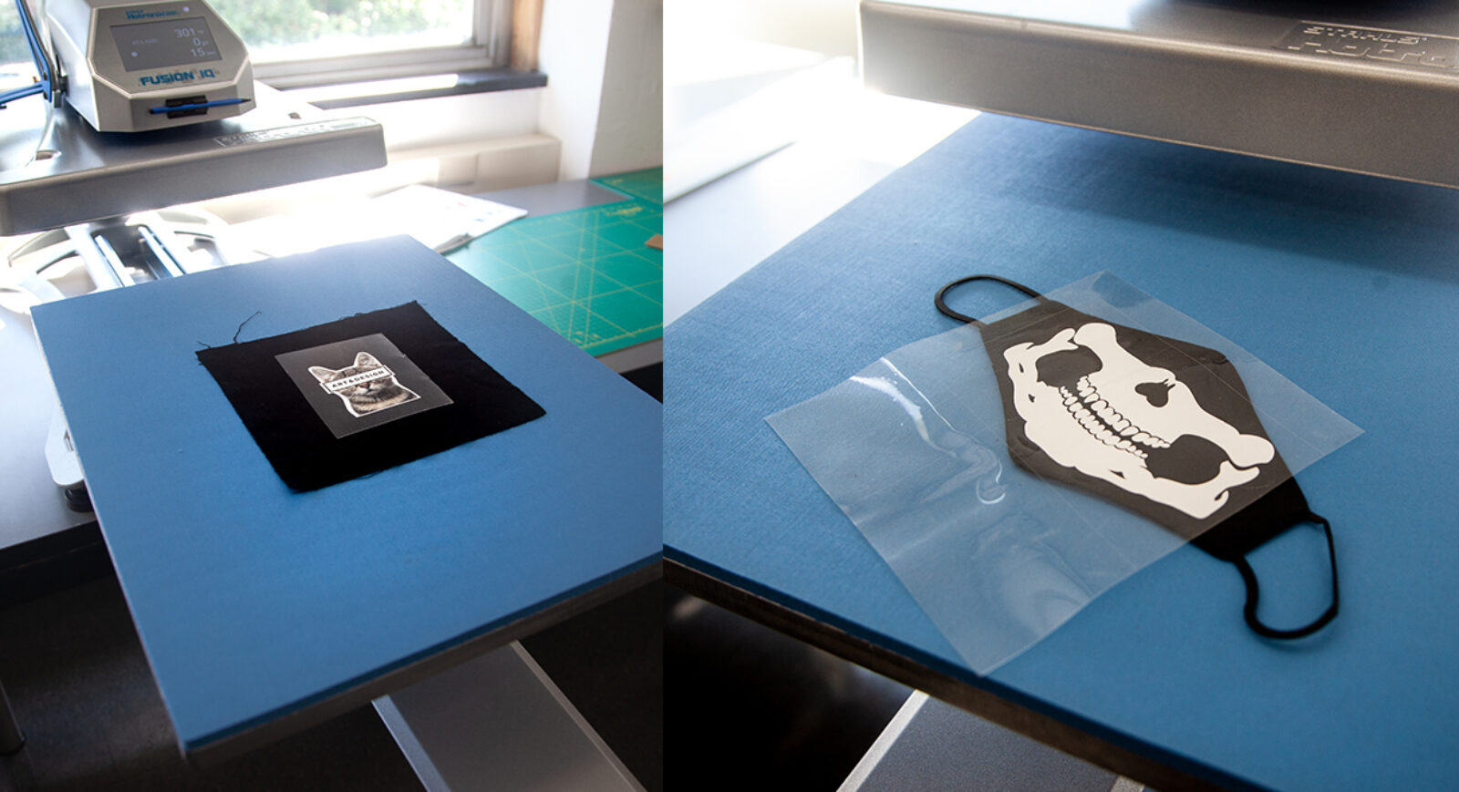 fabric with vinyl and application tape on the lower platen