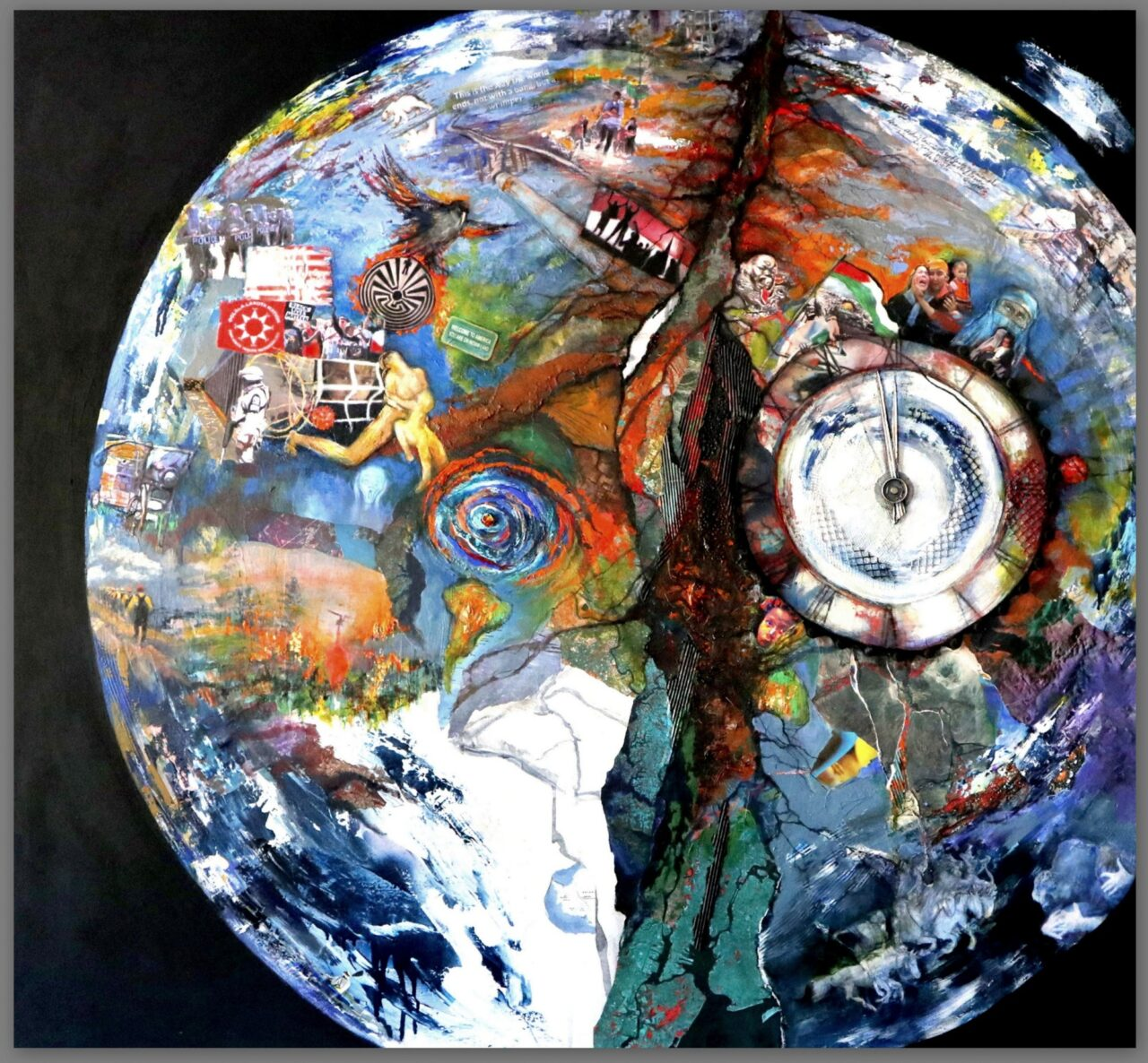 painting of sphere with  items inside