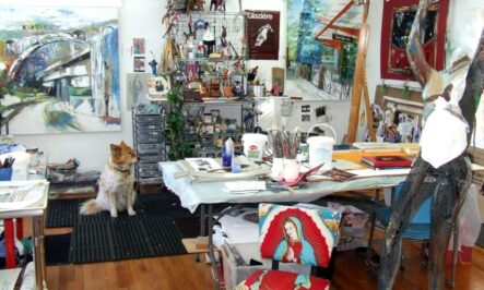 painting of studio with dog