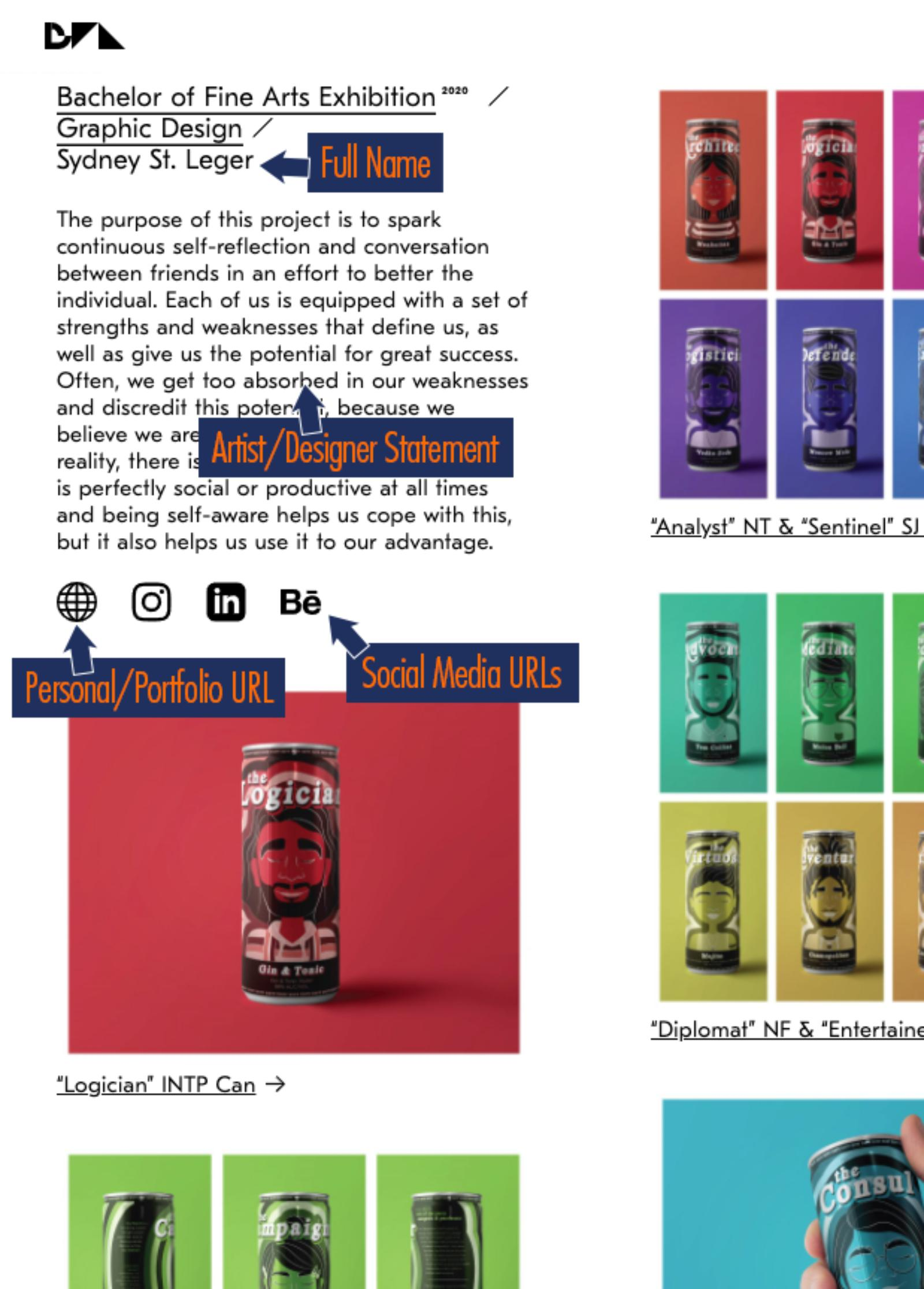 screenshot of sample page of graphic design student work with beverage can designs
