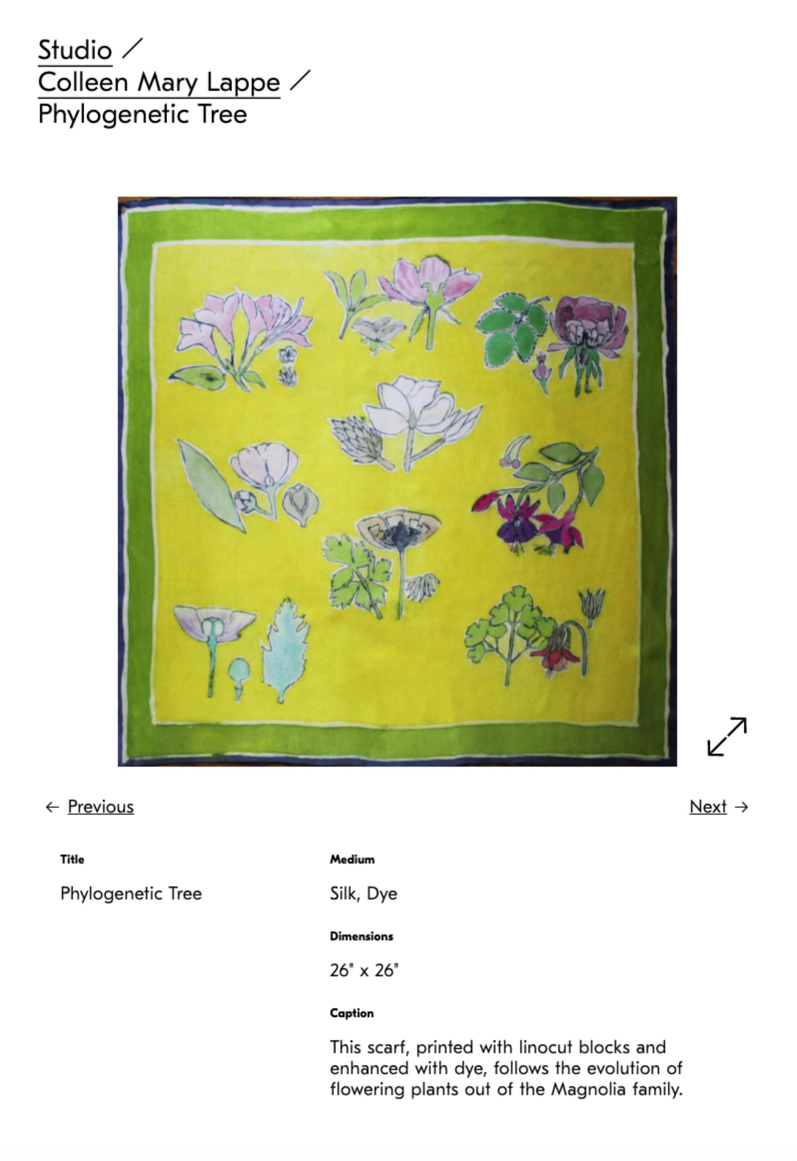 screenshot of sample image page featuring a yellow dyed fabric piece with painted flowers