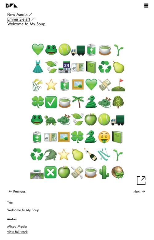 screenshot of a sample page for an attached PDF, featuring a grid of green emojis