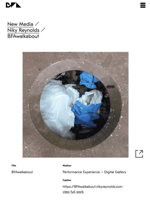 screenshot of a sample page with a link to an external website featuring a photograph looking into a trash can