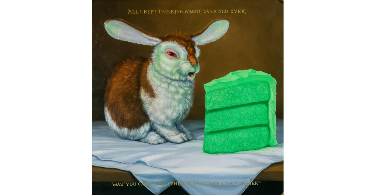 white brown bunny with green cake slice