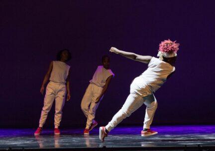 a dancer falls off balance