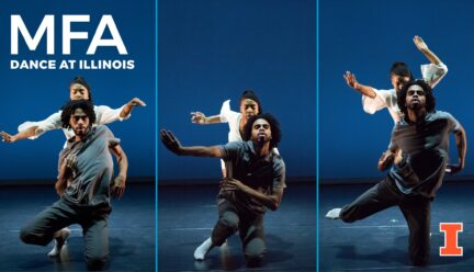 Three moving images of dancers near the ground