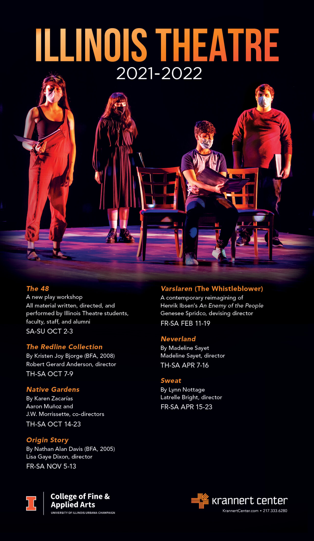 Illinois Theatre's Season Poster listing 7 events for the 2021-2022 school year